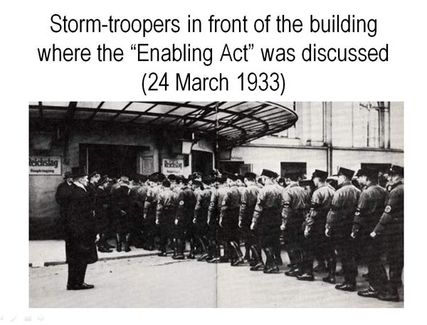 an introduction to the history of hitlers enabling act The enabling act and the establishment of a dictator the enabling act was the eventual outcome of the reichstag fire, which was an arson fire that engulfed the parliament building the fire was blamed on communists that sought to overthrow the government of germany.