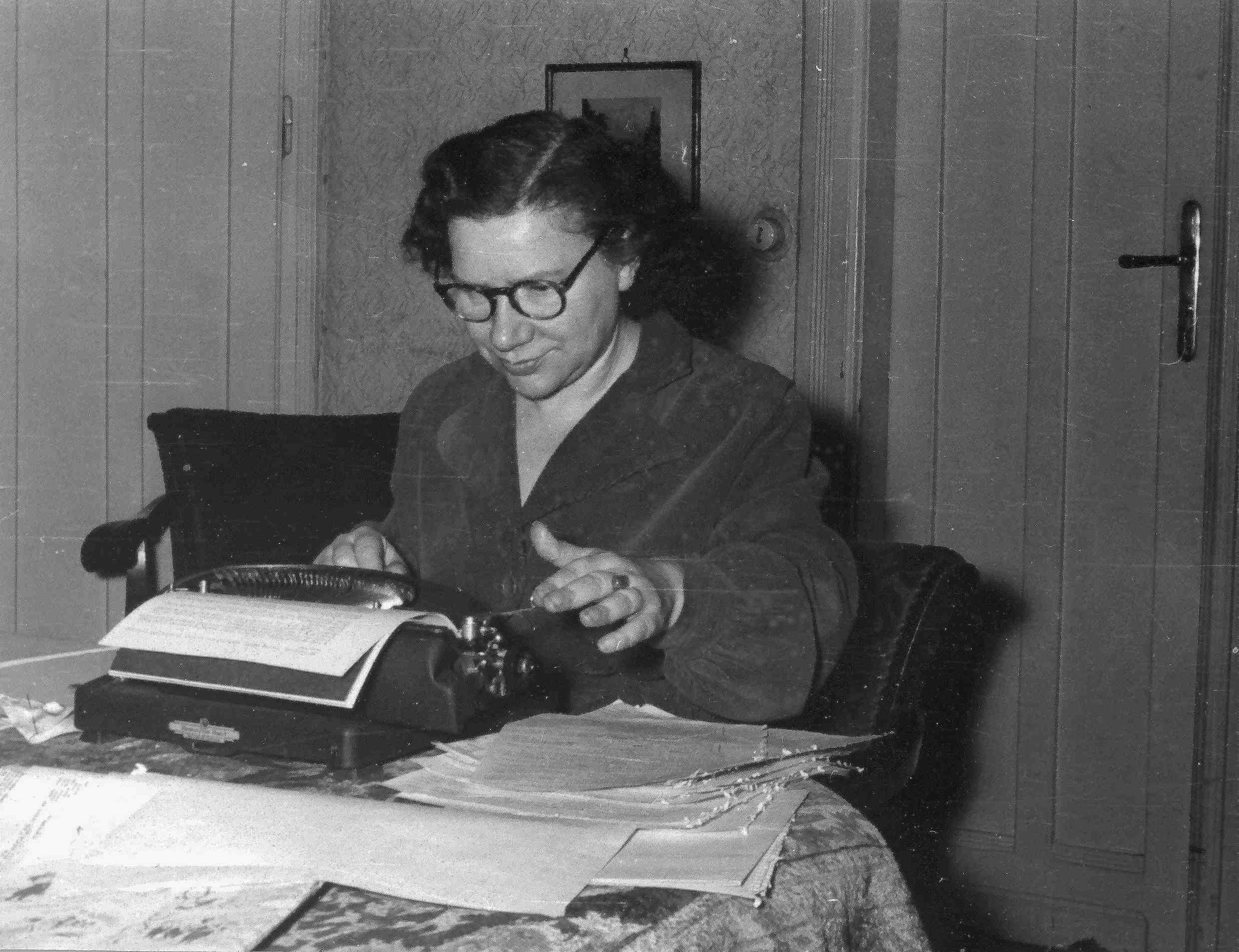 Kató Gyulai writing her report in 1947